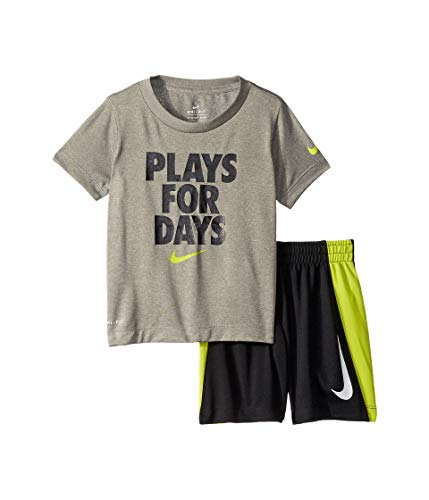 Nike Kids Baby Boy's Dri-Fit Short Sleeve T-Shirt and Shorts Two-Piece Set (Toddler) Black 4T