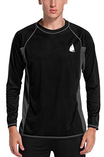 Charmo Men's Rash Guard Loose Fit Long Sleeve UV Protection Sun Shirts Swim Shirt UPF 50+