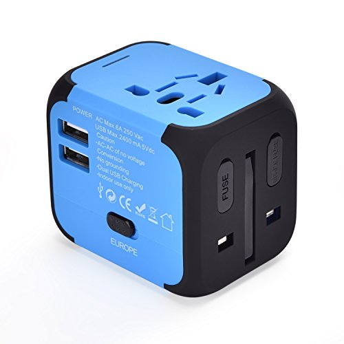 Adapter and Converters Universal Power Outlet Plug 2 USB Wall Charger Worldwide All in One AC Outlet Plugs for European US EU UK AU 160 Countries ()