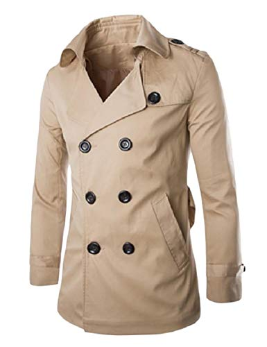 Tootless-Men Casual Jacket Big and Tall Notched Collar Overcoat Trench Coat Khaki S (Coat Fur Notched Collar)