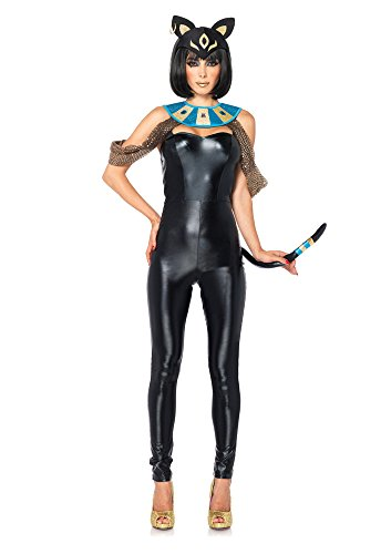 Leg Avenue Women's 3 Piece Egyptian Cat Goddess Costume, Black, Large