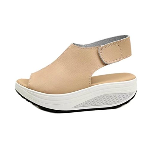 ZycShang Women Sandals Fashion Shake Shoes Summer Thick Bottom HIGT Heel Shoes Size 4.5-9 Beige OBlfc