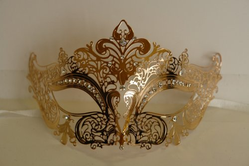 Venetian Gold Mask w/ Metal Laser-cut and Crystals on Eyes (Venetian Eye Mask)