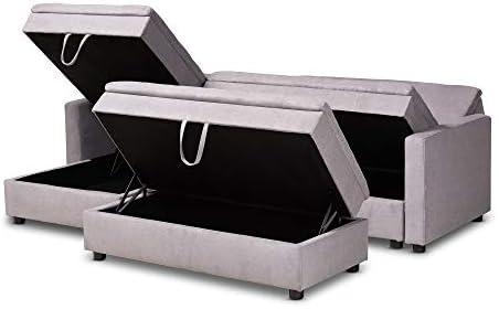 Amazon.com: Baxton Studio 157-9495-AMZ Sectional Sofa, Gray ...