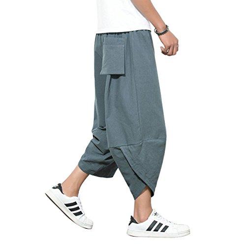 Banana Bucket Men's Harem Capri Pants Casual Baggy Lounge Shorts (Drawstring Shorts Capri)