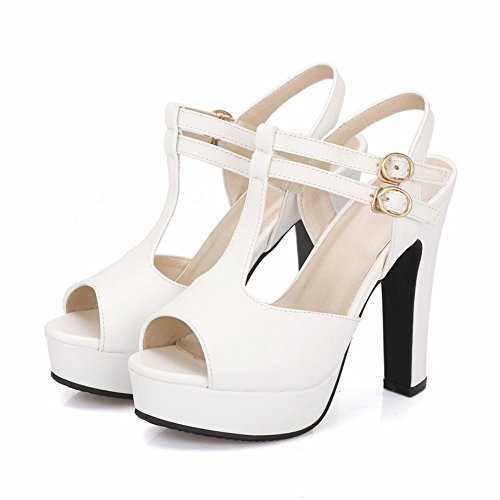 Sandals Concise Buckle Toe Carolbar Solid Women's High Peep Heel White Color 6UgHawq