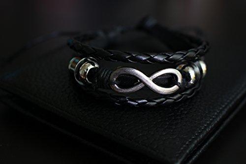 Aroncent 5pcs cuero trenzado acodado Wrap pulsera de cuero para los hombres con cordón ajustable