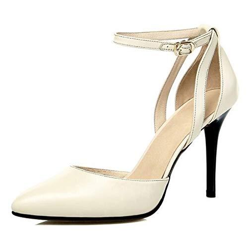 Mujer ZHZNVX Heel Heel Blanco White Comfort de Negro Zapatos Nappa Stiletto Spring Leather 1ErEqz