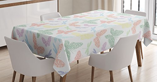 Country Decor Tablecloth by Ambesonne, Colorful Different Size Speckled Sprinkled Butterfly and Dragonfly Figures Winged Souls Image, Rectangular Table Cover for Dining Room Kitchen, 52x70 Inch, Multi