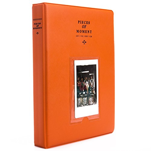 [Fujifilm Instax Mini Photo Album] Woodmin 128 Pockets Album for Fuji Instant Mini 8 8+ Mini 9 70 7s 25 50s 90, Polaroid Z2300, Polaroid PIC-300P 3-inch Film(Orange) (Christmas Themes Party Classic)