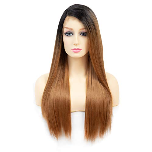 Kanekalon Futura Synthetic Hair 130% Density Lace Front Side Part Long Wig 2 Tone Dark Root With Heat Resistant Fiber for Women (Dark Root/Blonde) ()