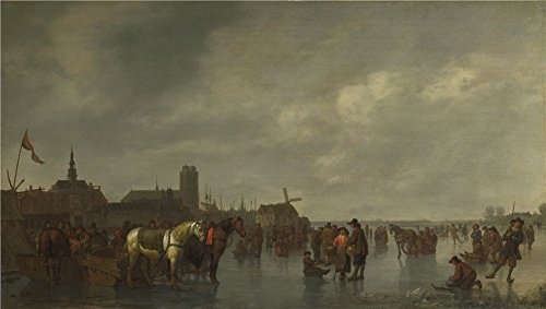 'Abraham Van Calraet Scene On The Ice Outside Dordrecht ' Oil Painting, 10 X 18 Inch / 25 X 45 Cm ,printed On High Quality Polyster Canvas ,this High Definition Art Decorative Prints On Canvas Is Perfectly Suitalbe For Bedroom Decor And Home Decoration And Gifts