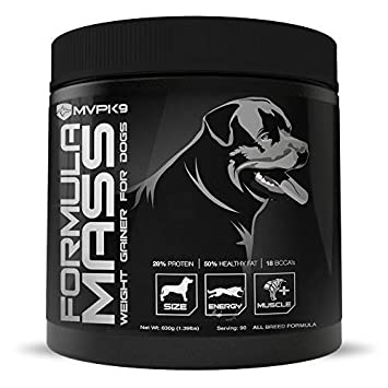 MVP K9 Supplements Formula Mass Weight Gainer for Dogs 90 Servings Made in The USA – Helps Increase Weight Adds Mass on Skinny Dogs.