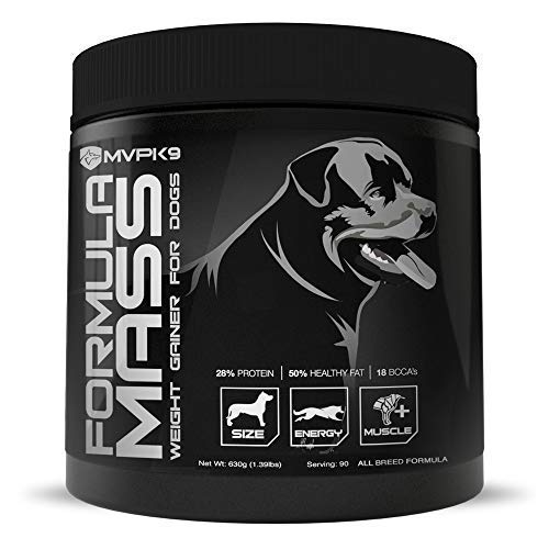 MVP K9 Formula Mass Weight Gainer for Dogs - Helps Promote Healthy Weight Gain, Size and Muscle in Dogs - Great for Skinny, Underweight, Picky Eaters. All Breed Formula, Made in USA (90 Servings) (Best Weight Gainer For Dogs)