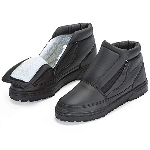 Water Resistant Fleece Insulated Snow Boots with Flip-Out Ice Grippers and Skid-Resistant Soles, Mens, 11