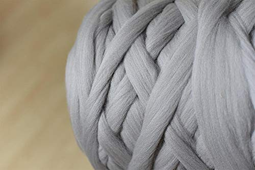 Chunky Yarn Super Bulky Giant Wool Yarn Roving For Arm Knitting Extreme Knitting (4.4lbs(2kg), Light Grey)
