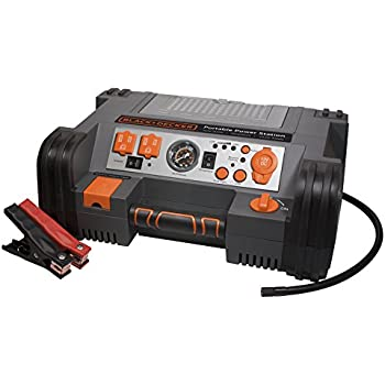BLACK+DECKER PPRH5B Portable Power Station Jump Starter: 900 Peak/450 Instant Amps, 500W Inverter, 120 PSI Air Compressor, Battery Clamps
