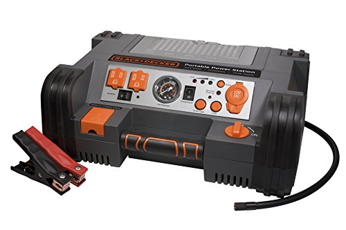 (BLACK+DECKER PPRH5B Portable Power Station Jump Starter: 900 Peak/450 Instant Amps, 500W Inverter, 120 PSI Air Compressor, Battery Clamps)