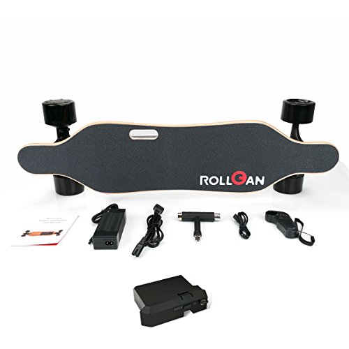 Rollgan Battery Detachable Electric Skateboard Dual Brushless Hub Motors Each 350W, Wireless Remote with Three Speed Modes 15MPH Top Speed,Motorized Longboard,Replaceable Battery,4.4Ah LG Battery