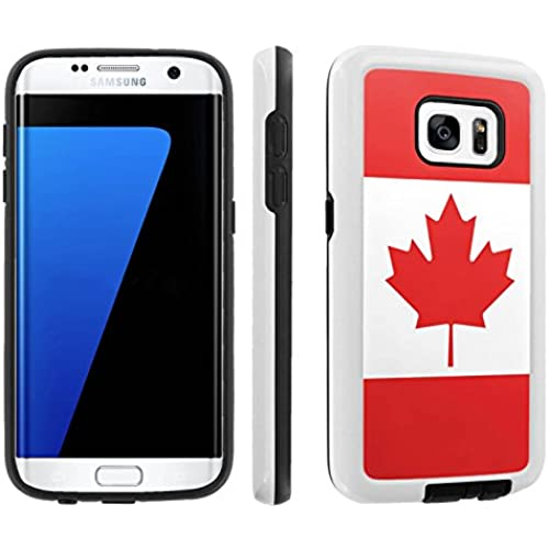 [Galaxy S7] [5.1 Screen] Armor Case [Skinguardz] [White/Black] Shock Absorbent Hybrid - [Canadian Flag] for Samsung Sales