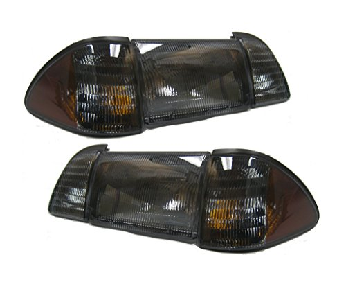 - 1987-1993 Mustang Smoked 6-Piece Headlights Set with Parking Lights & Amber Side Markers