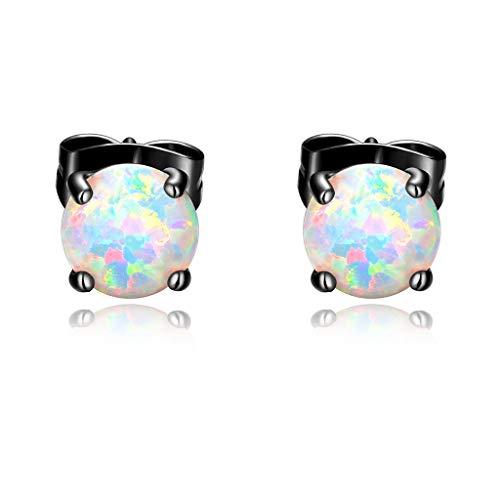 Black Gold Plated Opal stud earrings With Round Cut White Fire Opal Earings Women Men Jewelry(6mm)
