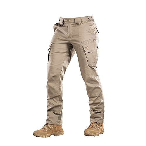 (Aggressor Flex - Tactical Pants - Men Cotton with Cargo Pockets (Khaki, XXXL/S))