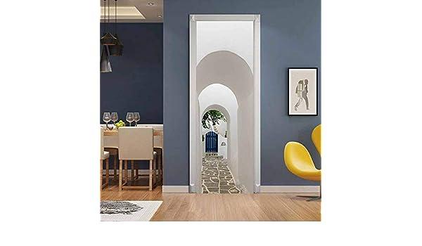 Adhesivo Fotográfico Pegatina, Vinilos Decorativos para Puerta Pared Cocina Sala De Baño, (Puerta De Madera Azul Pura Limpia Arco Blanco) 90Cmx200Cm: Amazon.es: Hogar