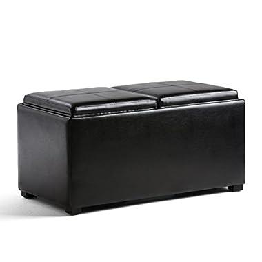 Simpli Home Avalon 5 Piece Rectangular Storage Ottoman, Midnight Black