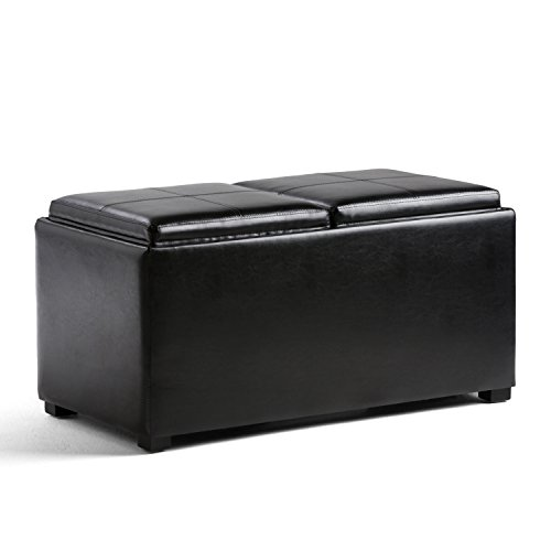 Simpli Home Avalon 5 Piece Rectangular Storage Ottoman, Midnight Black (Leather Large Rectangular Ottoman)