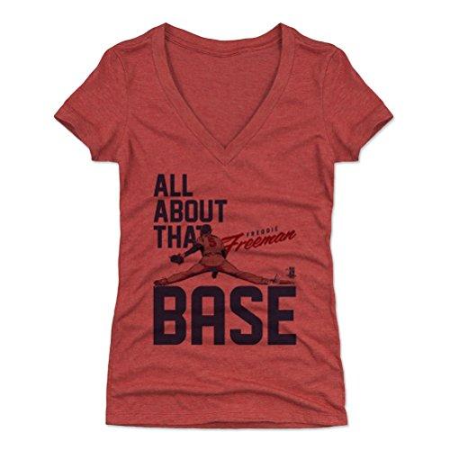 500 LEVEL Freddie Freeman Women's V-Neck Shirt Large Tri Red - Atlanta Baseball Women's Apparel - Freddie Freeman Base B