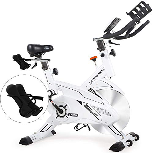 L NOW Indoor Cycling Bike Stationary Exercise Bike Belt Driven Smooth Quiet with Dumbbell Rack