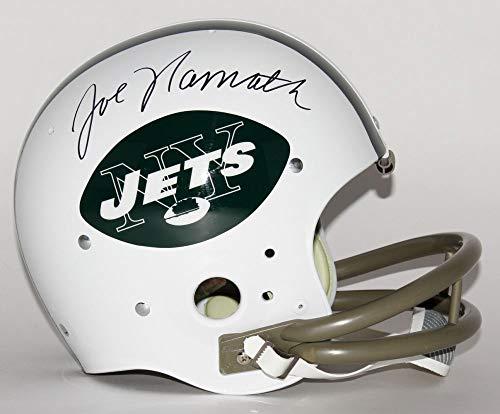(Joe Namath New York Jets Signed Autograph Throwback TK 2 Bar Full Size Helmet JSA Witnessed Certified)