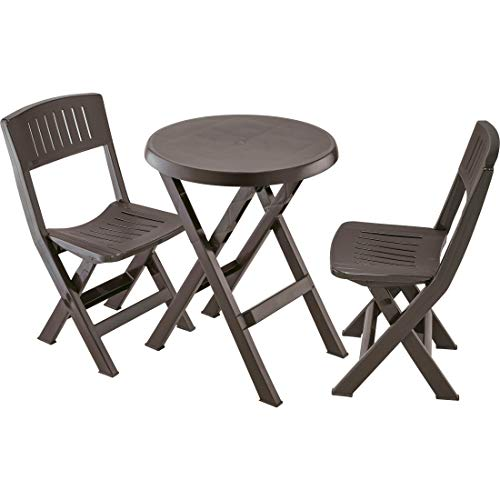 3pc Patio Bistro Set with 2 Two Outdoor Brown Plastic Folding Dining Chairs and One Round Coffee Table, Ferniture Set for Home, Poolside, Garden, Balcony, Porch, Camping & e-Book by jn.widetrade (Ferniture)