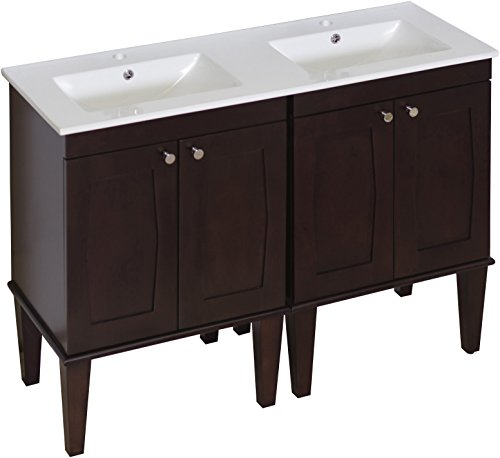 American Imaginations 750   48-Inch W X 18-Inch D Solid Wood Vanity with Soft-Close Doors and Double Sink White Ceramic Top for Single Hole Faucet Installation by American Imaginations