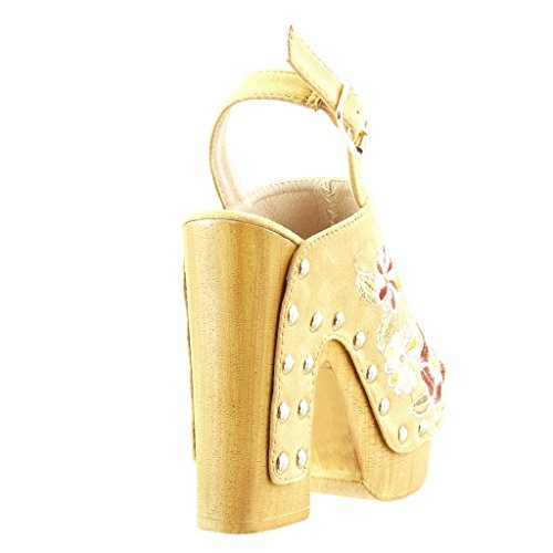 Angkorly - Chaussure Mode Sabot Sandale plateforme femme fleurs brodé clouté Talon haut bloc 13 CM - Camel