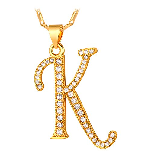U7 Letter Necklace 18K Gold Plated Cubic Zirconia Iced Out Pendant Monogram Style Initial Necklace, Alphabet K