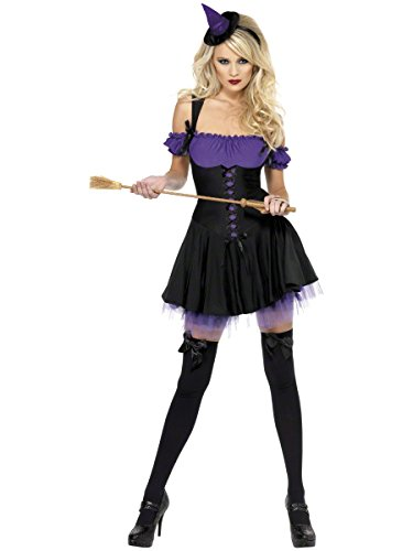 Fever Women's Wicked Witch Costume with Dress and Hat On Headband, Purple/Black, Large (Sexy Witch Dress)