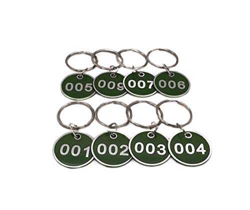 (Aluminum Alloy Metal Key Tag Set, Number ID Tags Key Chain, Numbered Key Rings, 50 Pieces - Green -1 to 50)