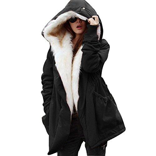 Women Winter Fleece Coat Hooded Faux Fur Trench Coat Jacket Parka - 1