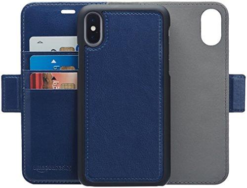 AmazonBasics iPhone X PU Leather Wallet Detachable Case, Navy