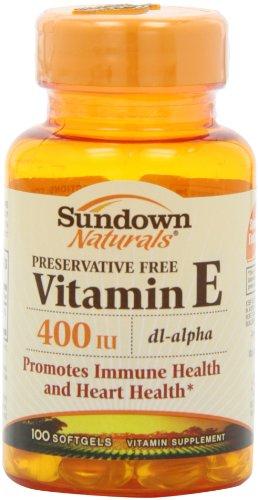 Sundown Naturals E-400 Iu DL-alpha Les gélules synthétiques, 100 comte