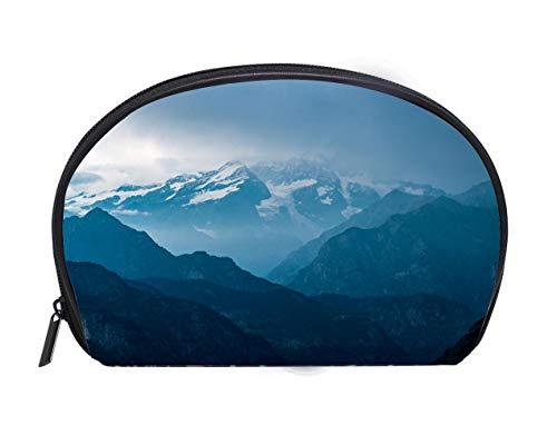 Half-moon Cosmetic Bag Italian Alps Monte Rosa mountain range landscape at sunset Travel Cosmetic Case Luxury Makeup Artist Bag
