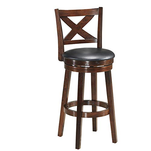 COSTWAY Bar Stools, Counter Height Dining Chair, Fabric Upholstered 360 Degree Swivel, PVC Cushioned Seat, Perfect for Dining and Living Room Height 29