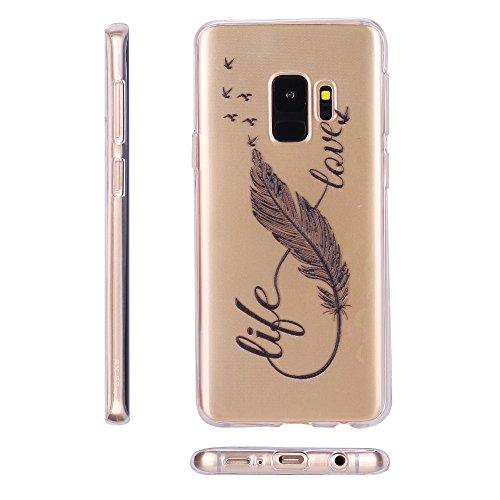 Funda Galaxy S9, RosyHeart Carcasa Suave Transparente gel Silicona TPU Cover para Samsung Galaxy S9 (5,8 pulgadas) [Ultra ligero y claro] Flexible Antigolpes y Anti-arañazos Case Protector Bumper - Ma Pluma negra