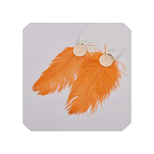 First Ring Fall Winter Designer Inspired Genuine Ostrich Big Dyed Feather Disc Plates Drop Earrings For Women,Orange ()