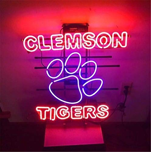 - Neon Qiong Neon Sign Factory 17X14 Inches Real Glass Neon Sign Light for Beer Bar Pub Garage Room Clemson Tigers.