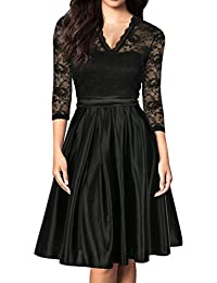 Women Vintage 1930s Style 3/4 Sleeve Black Lace A-line Party Dress