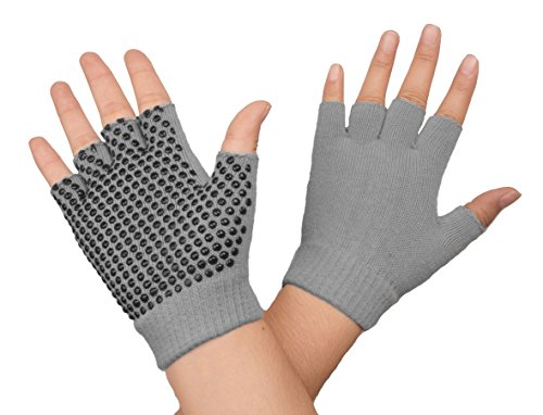 SUNLAND Yoga Pilates Gloves Non-Slip Grip with Silicone Fingerless for Training and Workouts One Pair Grey