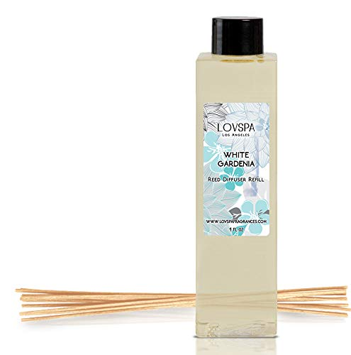 LOVSPA White Gardenia Reed Diffuser Oil Refill with Replacement Reed Sticks | Vetiver, Arugula, Lavender, Musk, Sweet Basil & French Grapefruit. 4 oz | Made in The USA
